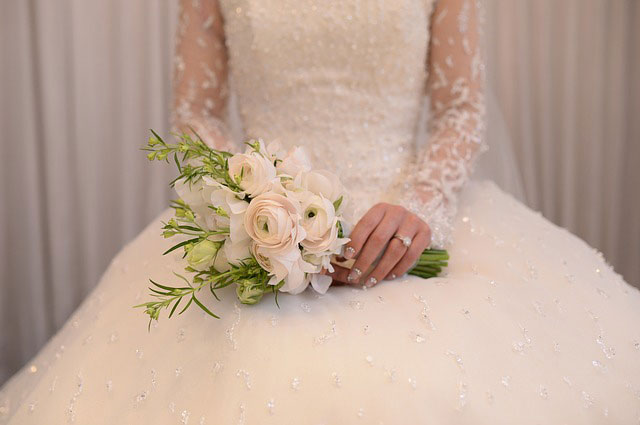 soft color wedding dress